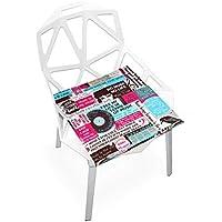 座布団 低反発 レコード 音楽 アメリカ ビロード 椅子用 オフィス 車 洗える 40x40 かわいい おしゃれ ファスナー ふわふわ fohoo 学校