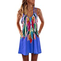 Hansair Women's Summer Boho Casual Printed Maxi Party Cocktail Beach Dress Sundress