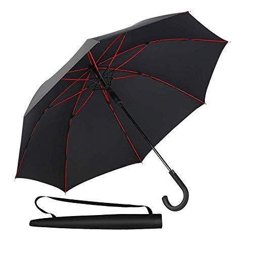 Newdora 長傘 二層傘骨構造 210T高強度グラスファイバー 8本骨 130cm 耐風撥水 丈夫 超軽量 大型 自動開けステッキ傘 紳士傘 大きな傘 梅雨対策 晴雨兼用 通勤 通学 収納ポーチ付き