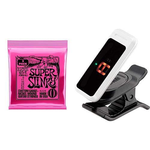 【正規品】 ERNIE BALL 3223 ギター弦 (09-42) SUPER SLINKY スーパー・スリンキー 3セットパック & クリップチューナーPC-0 ホワイト セット