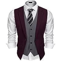 Coofandy Mens Formal Fashion Layered Vest Waistcoat Dress Vest
