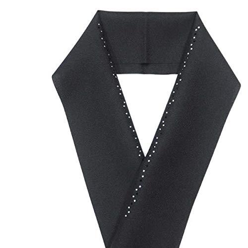 半襟 半衿(洗える半衿 ラインストーン 15690) 2.黒地×銀黒ライン
