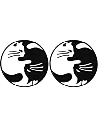 Charmart Tai Chi Cats Lapel Pin 2 Piece Set Hugging Cats Black White Enamel Brooch Pins Accessories Badges Gifts