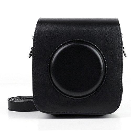Maxun FUJIFILMインスタントカメラ instax SQUARE SQ10に対応 ヴィンテージ PUレザー製 カメラケース 調節可能なストラップ付き ブラック