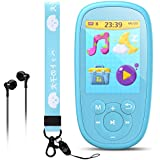 AGPTEK Bluetooth MP3 Player for Kids, 8GB Children Music Player 2.4 Inch HD Screen with Built-in Speaker, 10 Lullabies, FM Radio, Video, Voice Recorder, Expandable Up to 128GB,Blue