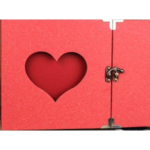 Amateras 写真デコ用 フォトアルバム スクラップ ブック 30枚 手作り フォト フレームブック Forever Love 透かし模様 オシャレ アルバム セット ハート 盛りだくさん オリジナル LOGO ボールペン 付 (タイプC(レッド))