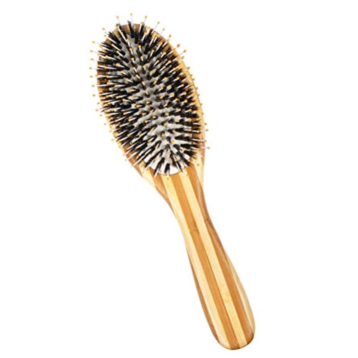 器用税金不一致Heallily ヘアブラシ1ピース剛毛ヘアブラシマッサージくし天然竹スムージングくし男性と女性のための髪の質感を向上させる