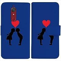 sslink Wiko VIEW ウイコウ ビュー 手帳型 ダークブルー ケース キス ハート ラブ ダイアリータイプ 横開き カード収納 フリップ カバー
