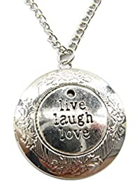 Live Laugh Loveロケットネックレス。Live Life。Love Life。笑う。