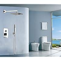 YYF-SHOWER 創造性 304ステンレス鋼 真鍮継手 1.5mホース、 壁掛け式 8インチ 上スプレースクエア 滝 バス シャワーセット、 一定温度 冷たいお湯 ハンドシャワー シングルハンドル 3ホールマウント 現代 ファミリーヴィラ 蛇口 (色 : シルバー しるば゜)