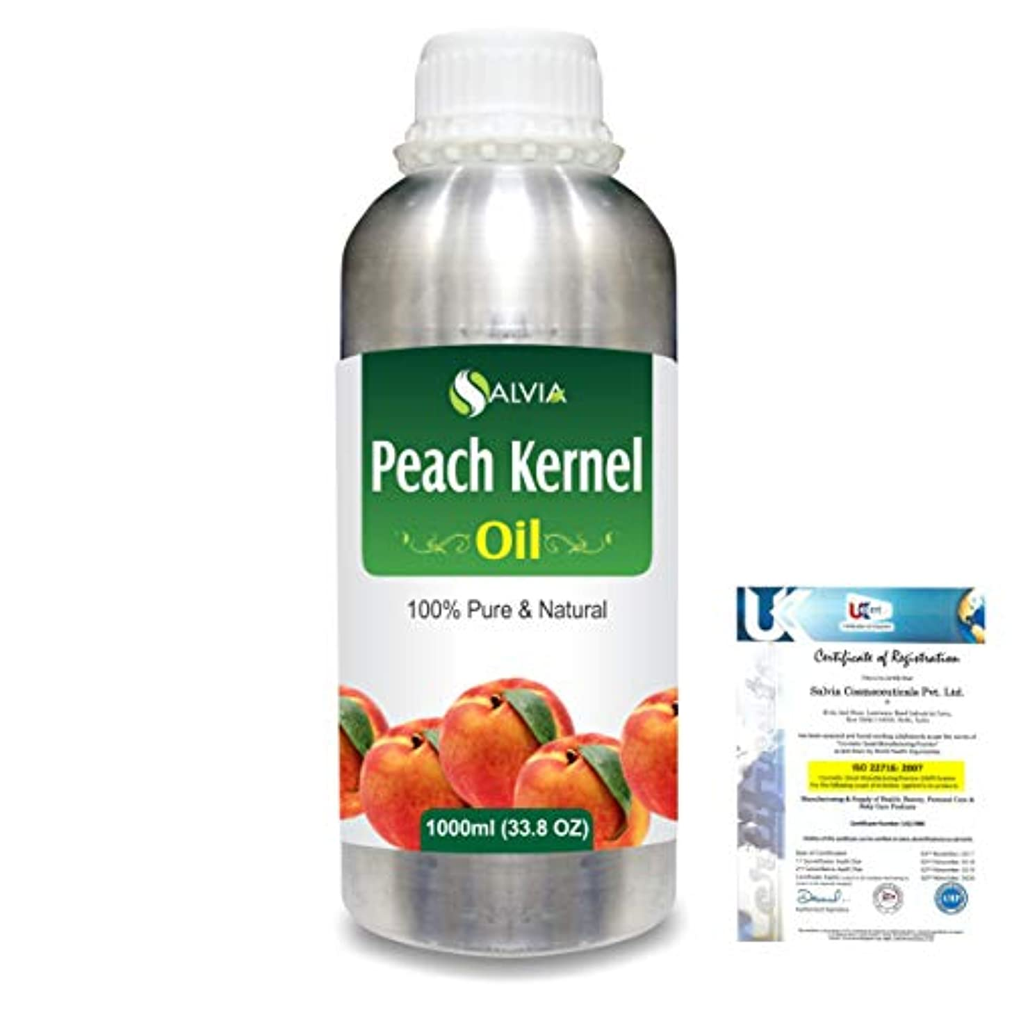 ピアノを弾く虚弱オークションPeach Kernel (Prunus persica) Natural Pure Undiluted Uncut Carrier Oil 1000ml/33.8 fl.oz.