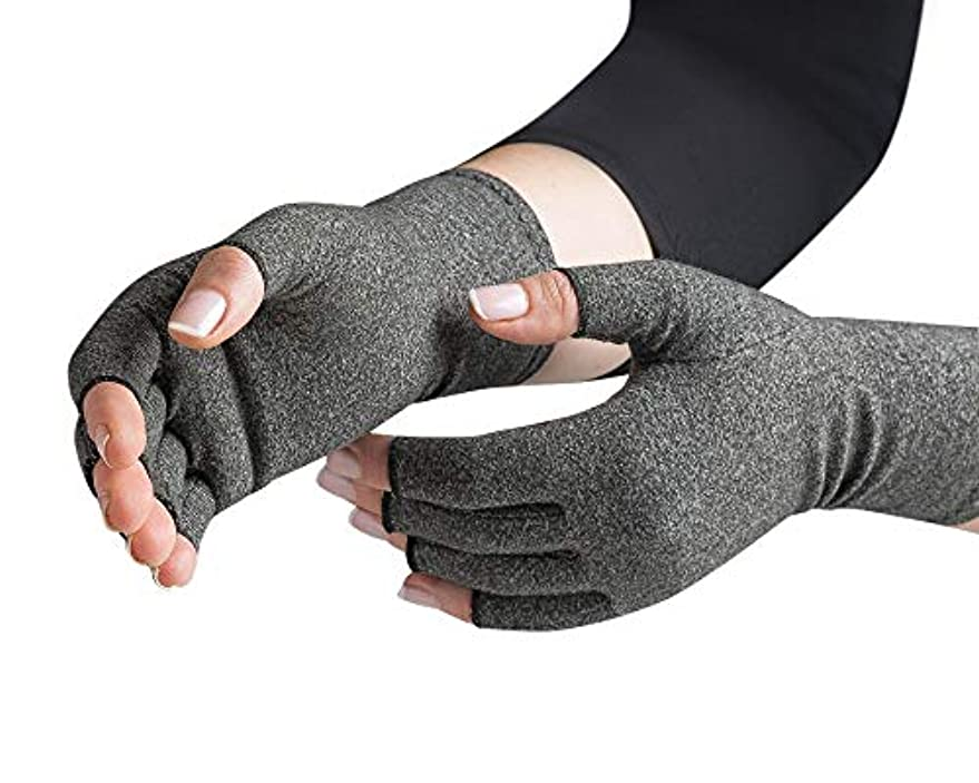 何でも合併アーティストWomen Men Cotton Elastic Hand Arthritis Joint Pain Relief Gloves Therapy Open Fingers Compression Gloves