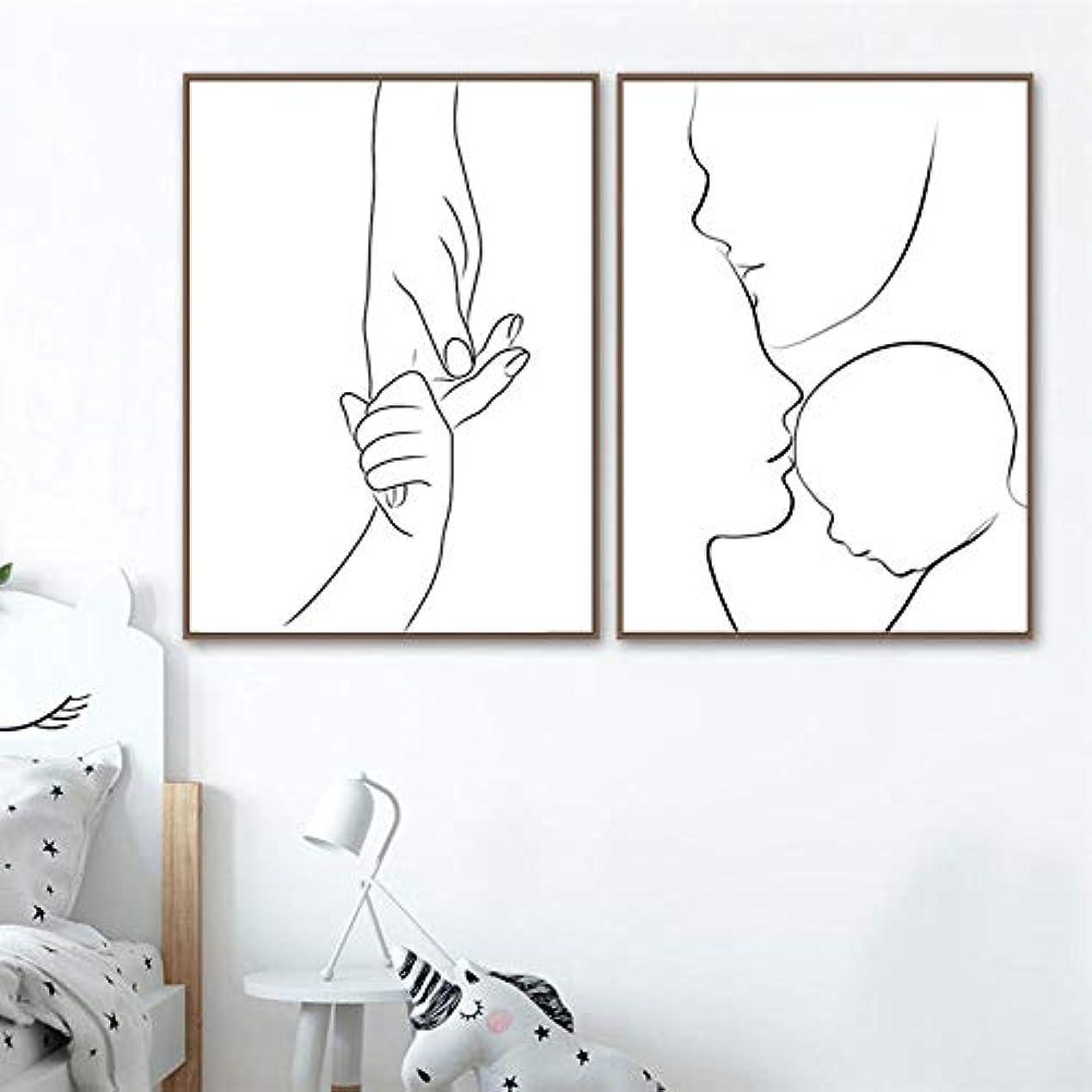 変わる襟レギュラー家族愛ポスター新生児ママ手ラインアートキャンバスポスター保育園壁アート写真抽象絵画プリント赤ちゃんルーム装飾-40X50Cmx2ピースなしフレーム