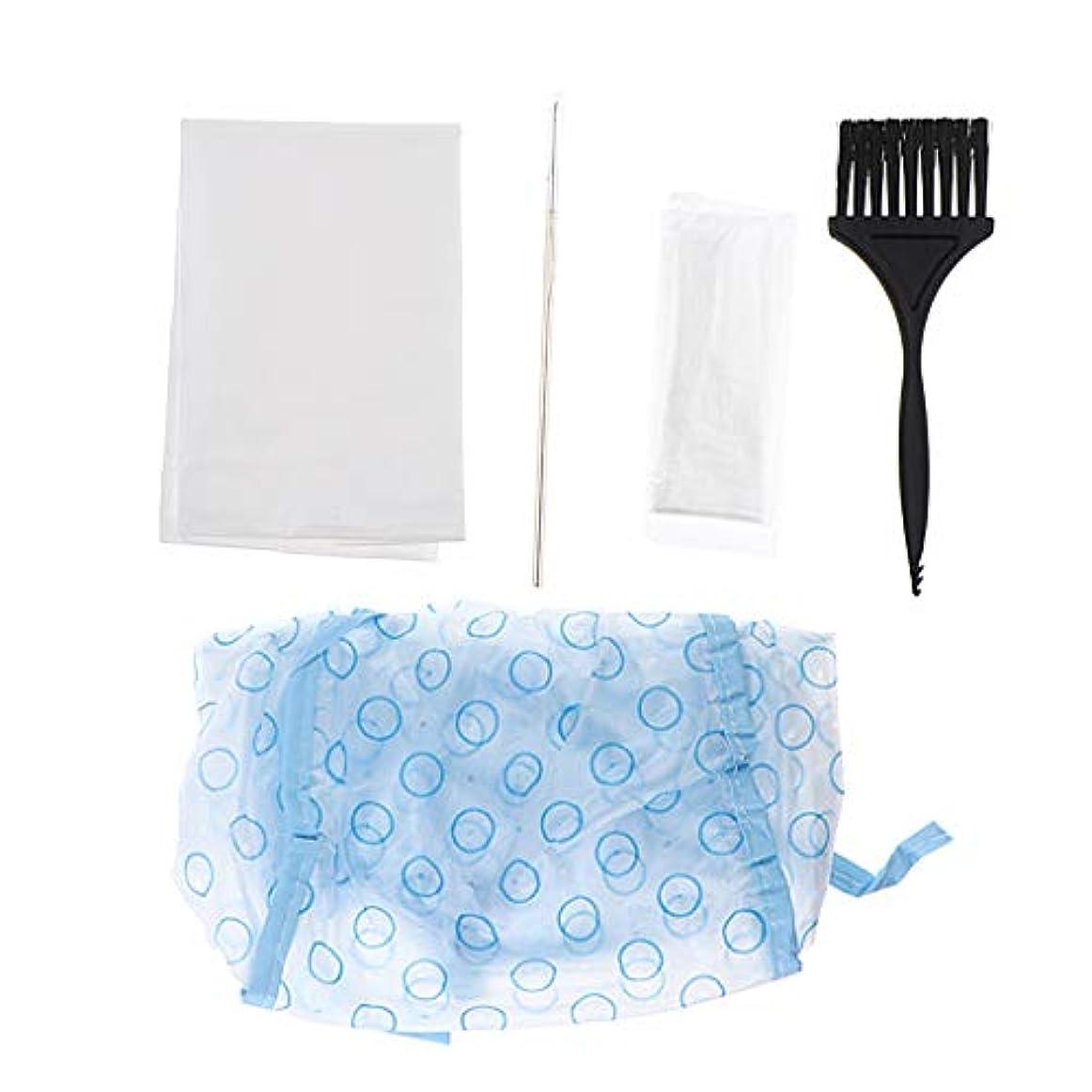 隣接する下メッシュ5本/セット使い捨てヘアカラー染めツールティントキャップクリップケープブラシ手袋