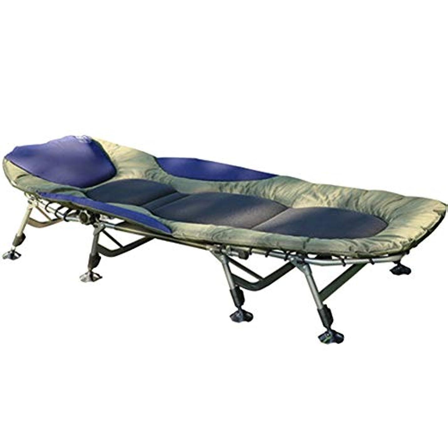 品選択するに向けて出発強化キャンプベッドアルミ合金シンプルな折りたたみベッドオフィス屋外ポータブルシングルベッド調節可能 (Color : Blue)