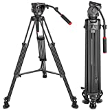 Neewer Professional Heavy Duty Video Tripod 77 inches Aluminum Alloy with 360 Degree Fluid Drag Head, Quick Shoe Plate/Bubble level for Nikon Canon DSLR Cameras Video Camcorders, Load up to 26.5 Pound