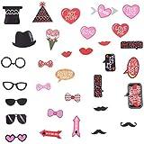 BinaryABC バレンタインデー 写真ブース用小道具 バレンタインデーデコレーション 結婚式 バレンタインパーティー用品 32個