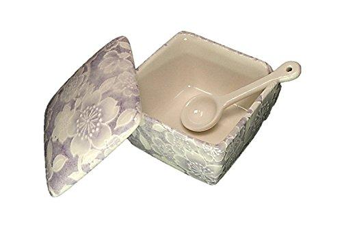 桜友禅(紫) 薬味入 日本製 陶器 スプーン付き 一味 塩 山椒 七味 うどん そば 豆板醤 辛子 業務用食器 ACSWEBSHOPオリジナル