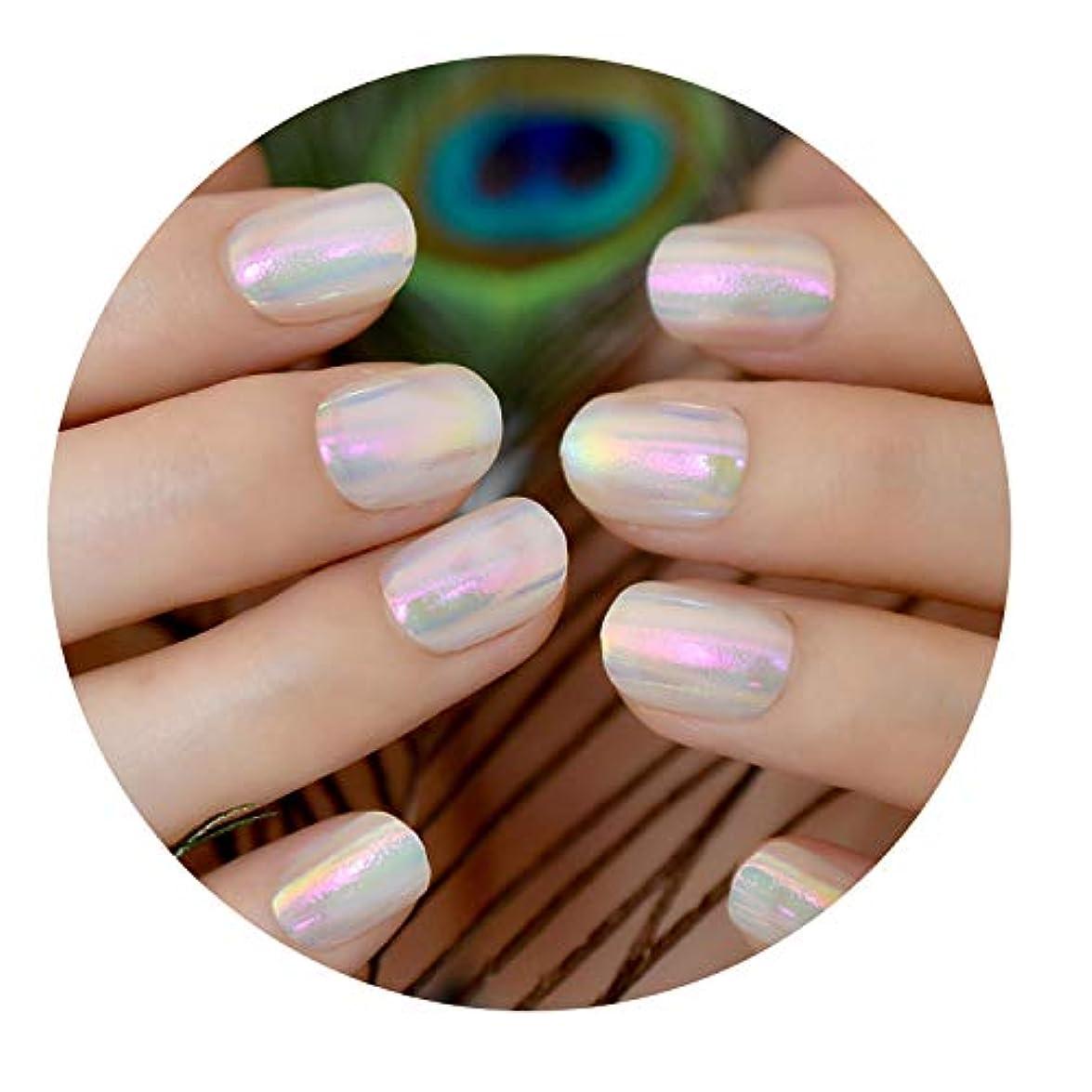 ぼかす真似るしなければならないアクリル偽爪短いラウンドデザイン人工爪のヒントミラーDIY指パッチサロン製品,Z856