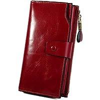 YALUXE Women's RFID Blocking Wax Genuine Leather Clutch Wallet Multi Card Organizer