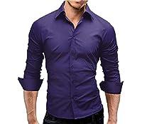 AngelSpace メンズビジネスロングスリーブスリムフィットドレスシャツレギュラーフィットシャツ Purple M