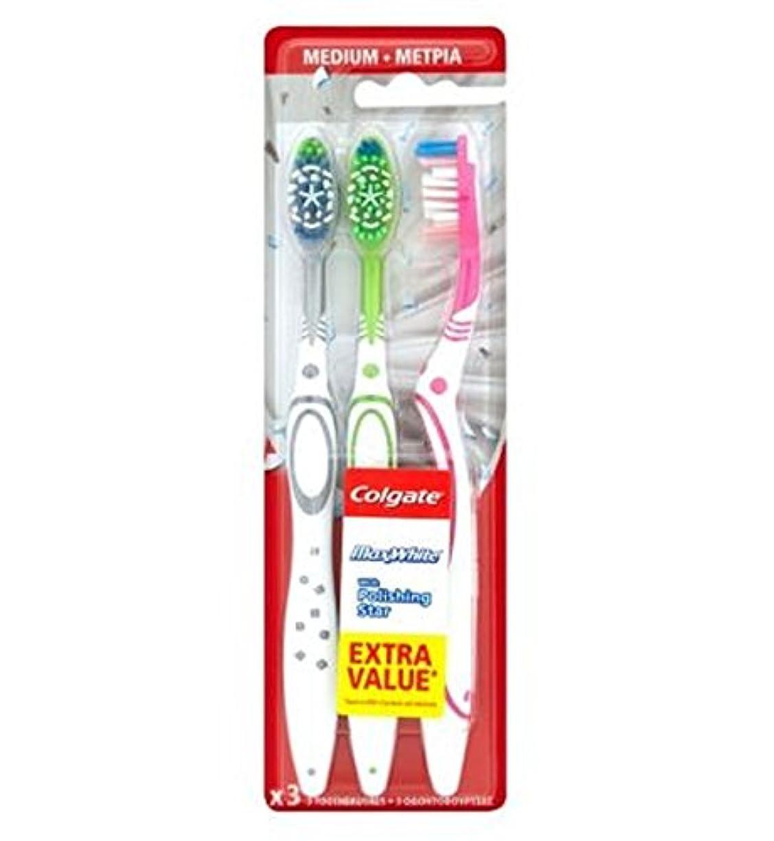 Colgate Max White Triple Pack toothbrush - コルゲートマックスホワイトトリプルパック歯ブラシ (Colgate) [並行輸入品]