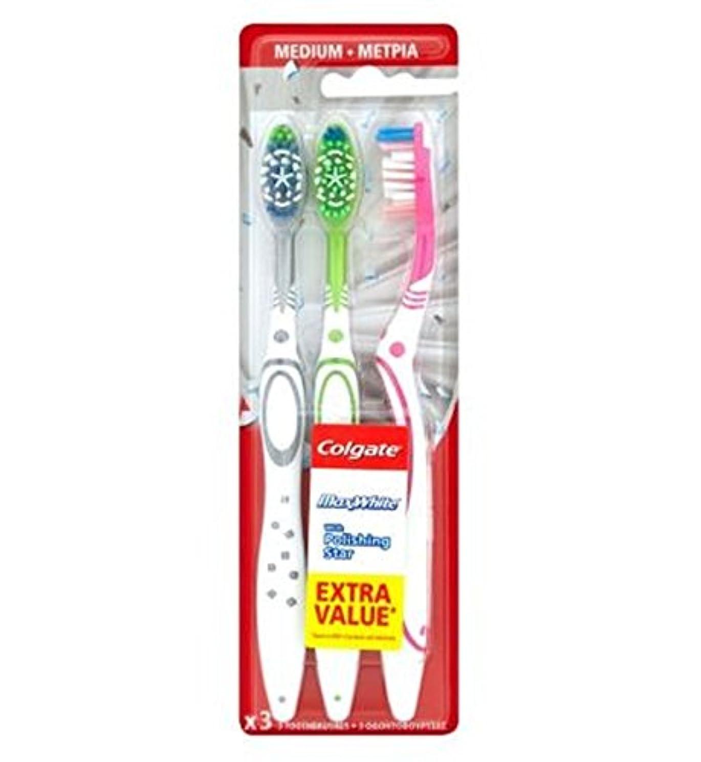 いつ創傷耳Colgate Max White Triple Pack toothbrush - コルゲートマックスホワイトトリプルパック歯ブラシ (Colgate) [並行輸入品]