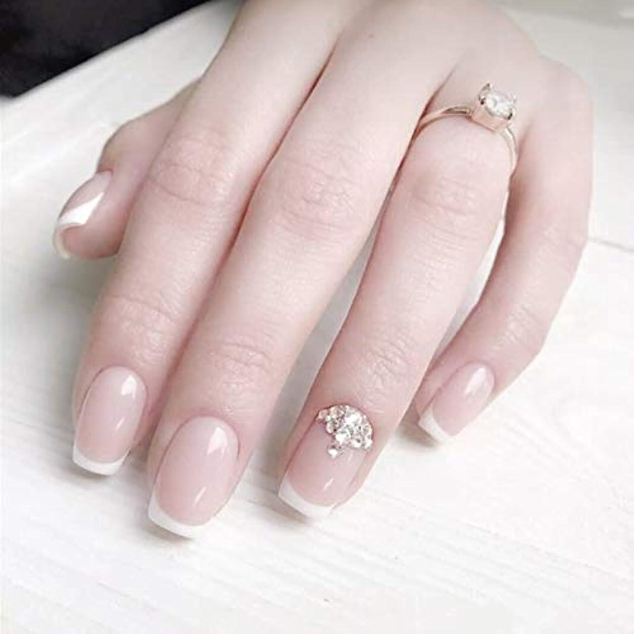 ゴネリル疑い者ヒューマニスティックロマンチックのフランス風ネイルチップ 付け爪 花嫁ネイルパーツ つけ爪 ネイルジュエリー ネイルアート
