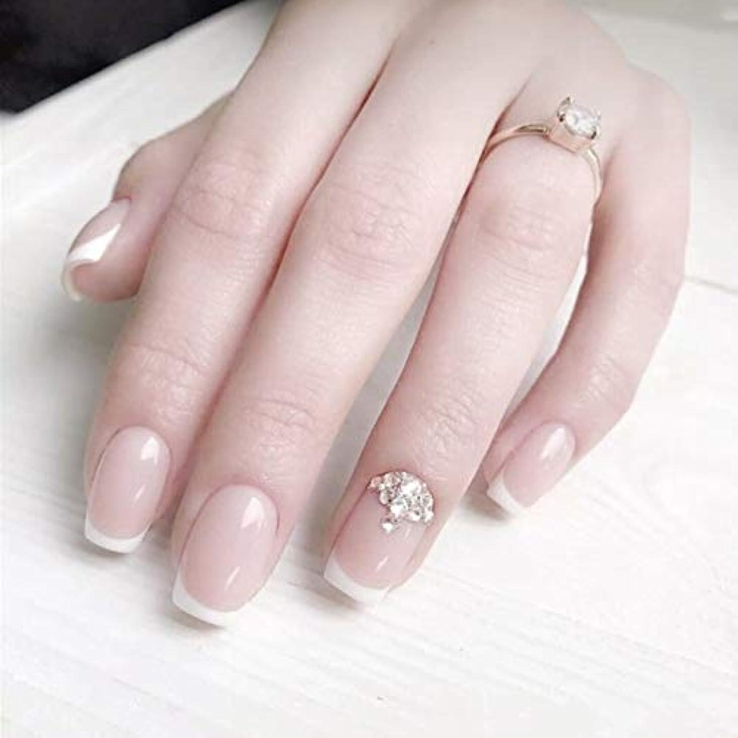 横たわる罹患率約設定ロマンチックのフランス風ネイルチップ 付け爪 花嫁ネイルパーツ つけ爪 ネイルジュエリー ネイルアート