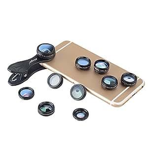 Akinger 10in1カメラレンズ(フロー レンズフィルターXラジアル レンズフィルターXスター レンズフィルターXCPLレンズX0.63広角レンズX15xマクロレンズX198度魚眼レンズX2XズームレンズX万華鏡3X万華鏡6) クリップ式 多機種対応 簡単装着