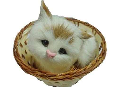 小さくて 超 リアル かわいい かご 猫 ねこ 【マイホット】 (見上げる 耳茶猫)