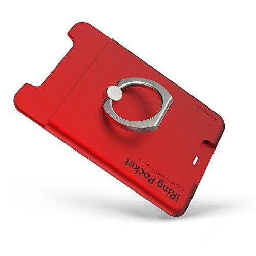 AAUXX 正規代理店品 iRing Pocket 厚さ 8mm ICカード 収納 スマホ iPhone 落下防止 スマホリング スタンド レッド