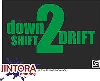 JINTORA ステッカー/カーステッカー - down shirt 2 drive - ダウンシャツ2ドライブ - 114x99 mm - JDM/Die cut - 車/ウィンドウ/ラップトップ/ウィンドウ - 緑色