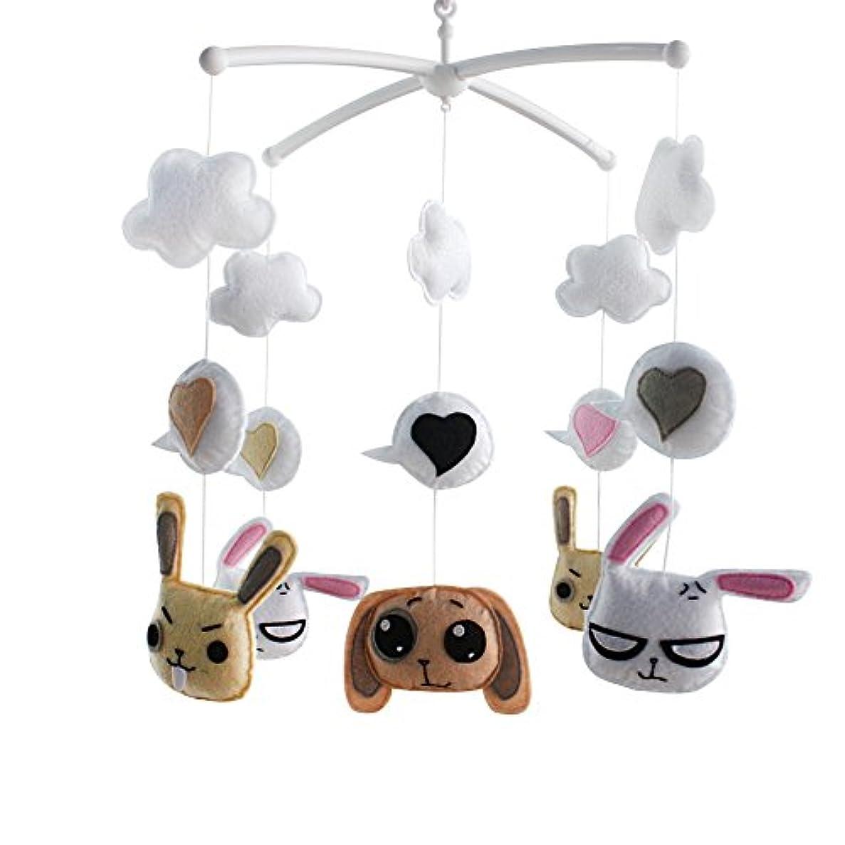 うぬぼれた顕著令状手作りのかわいいウサギの犬の赤ちゃんベビーベッドモバイル保育室の部屋の女の子の男の子のためのミュージカルモバイルベビーベッドのおもちゃ