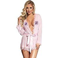女性のセクシーなレースサテンパジャマの下着パジャマメイクアップワンピースnightdress Gロープベルト,Pink,3XL