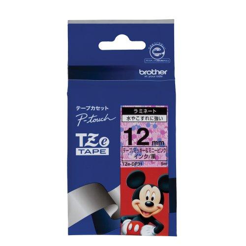 ピータッチ ディズニーキャラクターテープ ミッキー&ミニーピンクラベル TZe-DP31 [黒文字 12mm×5m]
