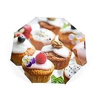 折りたたみ傘 カップケーキお菓子ペストリークリームケーキ 日傘 晴雨兼用 遮光 遮熱 UPF50 UV 紫外線 99% カット 大型 88cm レディース 8本骨
