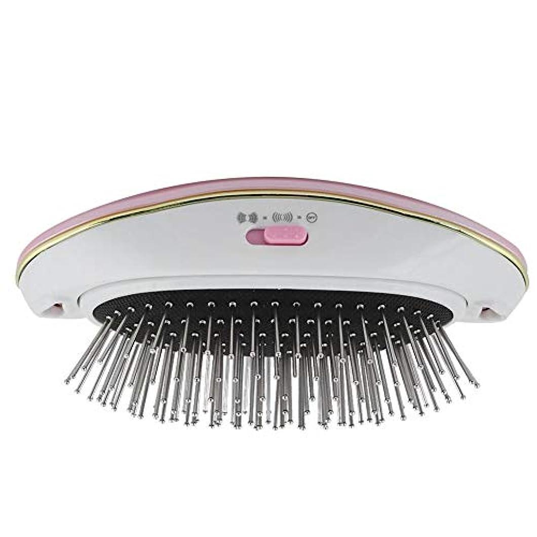 貫通結核ステレオヘアーコーム 電動ヘアブラシ リラックススカルプ 育毛スカルプ マッサージ 振動防止 髪喪失ストレート ヘアコーム 小型 携带用(Pink)