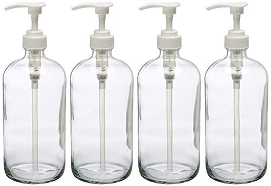取り消す判定ライブ32-Ounce Large Clear Glass Boston Round Bottles w/Pumps. Great for Lotions, Soaps, Oils, Sauces - Food Safe and...