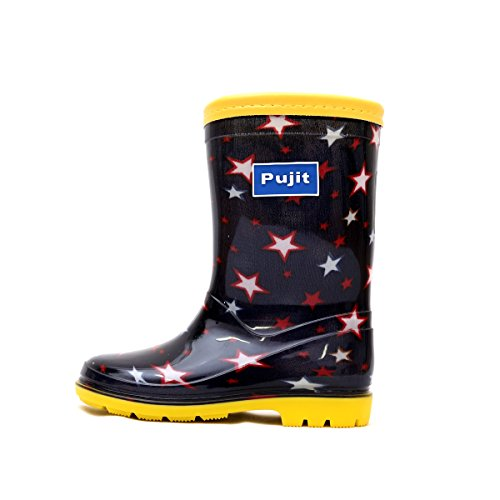 Pujit プジット キッズ ジュニア レインブーツ 男の子 子供 長靴 レインシューズ 雨靴 靴 シューズ 雪【カラー:ネイビー】 (17.0cm)