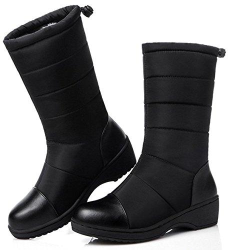 スノーブーツ スノーシューズ 冬用 カジュアル 綿靴 雪靴 防寒 防滑 保暖 ブーツ レディース (23cm, ブラック)