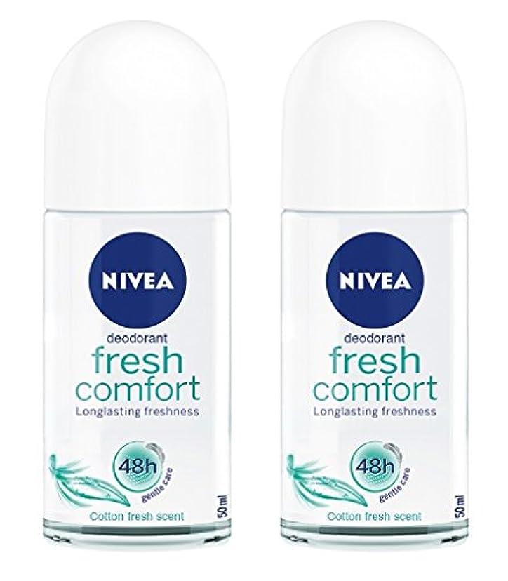 気づかないペニーベーカリー(Pack of 2) Nivea Fresh Comfort Deodorant Roll On for Women 2x50ml - (2パック) ニベア新鮮な快適デオドラントロールオン女性のための2x50ml