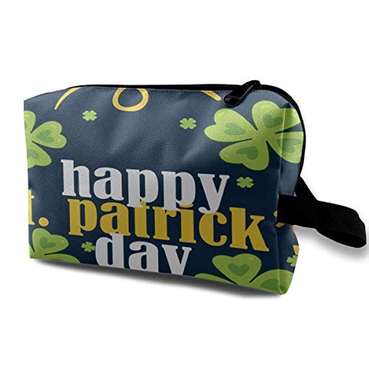 アナログ支配的タオルHappy St. Patrick's Day Character 収納ポーチ 化粧ポーチ 大容量 軽量 耐久性 ハンドル付持ち運び便利。入れ 自宅?出張?旅行?アウトドア撮影などに対応。メンズ レディース トラベルグッズ