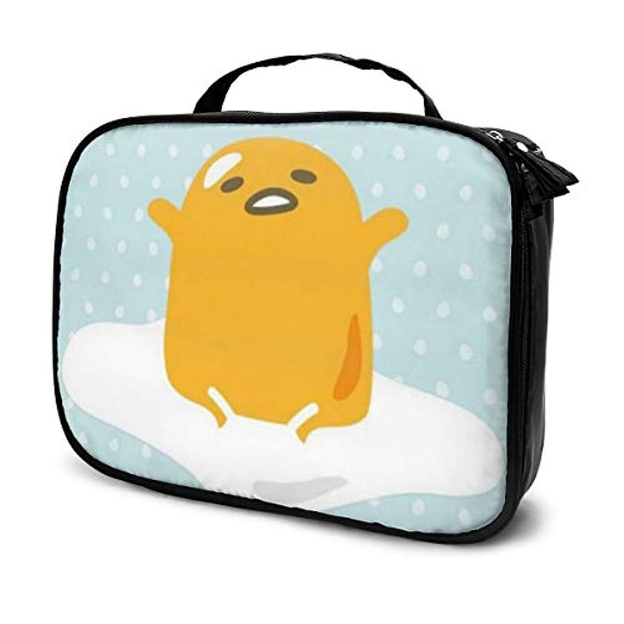 情報エチケット舗装ぐでたま 化粧ポーチ 化粧バッグ メイクボックス コスメバック 化粧箱 大容量 機能的 便携式 收納抜群 プロ用 旅行 家用