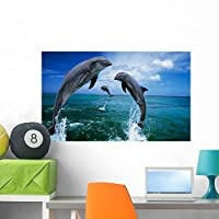 Wallmonkeys Dolphins Jumping in Ocean Wall Decal Peel and Stick Graphic WM99464 (36 in W x 22 in H) [並行輸入品]