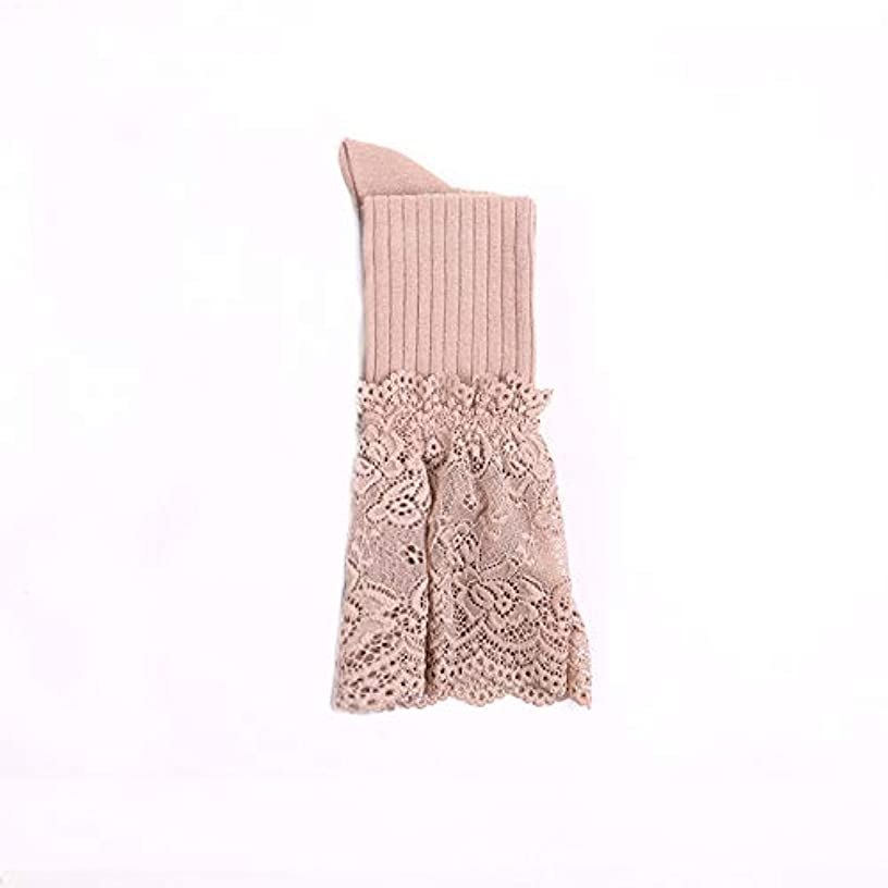やけど複雑リーン膝の靴下に女性のソリッドカラーの日本の太ももの靴下は膝の上に甘いレース膝の靴下に春と秋の縦縞アンチフックシルクジャカード