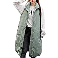Womens Cotton Padded Lapel Collar Thickened Outwear Long Down Puffer Vest Jackets