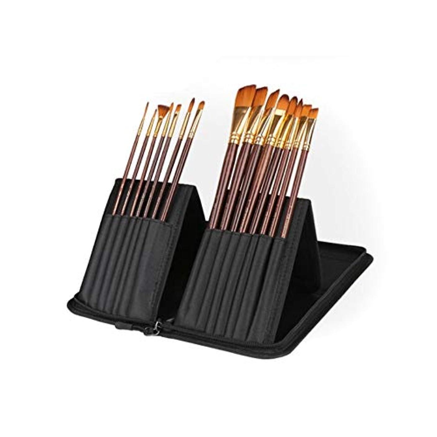 ミルクじゃがいも無駄Wuhuizhenjingxiaobu001 ペイントブラシ、15オイルブラシ描画セット+ペンバッグ、ブラックナイロンガッシュ/油絵/アクリル/水彩フックラインペン(15個、14 * 38 cm) 良い着色効果 (Color : 15 sticks, Size : 14*38cm)