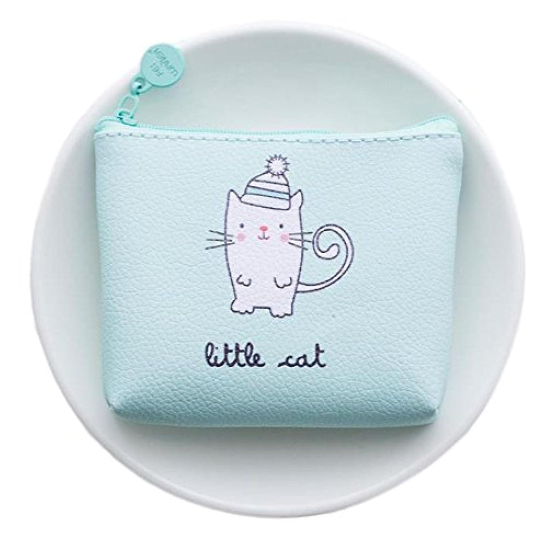 Ruikey 小銭入れ ミニ財布 コインケース キー入れポーチ 可愛い ブルー 帽子猫