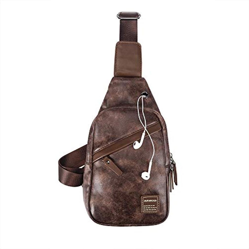 異邦人ファントムピニオンOUFANKADI Sling Backpack Bag Waterproof Leather Chest Shoulder Bag Crossbody Bags for Men or Women (Coffee) [並行輸入品]